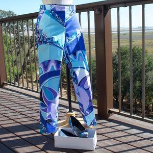 Emilio Pucci Fuilio Blue Purple Print Pants 6